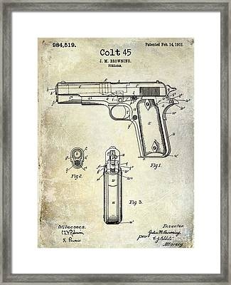 1911 Colt 45 Firearm Patent Framed Print by Jon Neidert