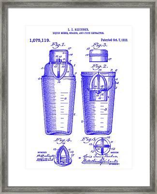 1913 Cocktail Shaker Patent Blueprint Framed Print by Jon Neidert