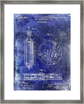 1913 Pocket Watch Patent Blue Framed Print