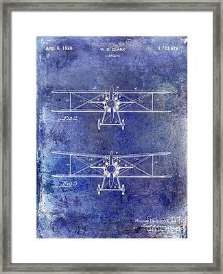 1929 Airplane Patent Blue Framed Print
