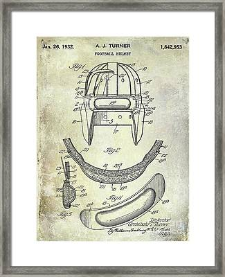 1932 Football Helmet Patent Framed Print