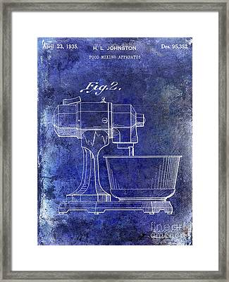 1935 Food Mixing Apparatus Patent Blue Framed Print
