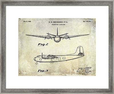 1945 Transport Airplane Patent  Framed Print
