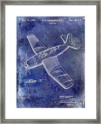 1946 Airplane Patent Blue Framed Print by Jon Neidert