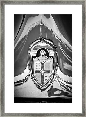 1949 Lincoln Coupe Hood Ornament -0929bw Framed Print by Jill Reger