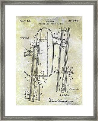 1951 Baseball Pitching Machine Patent Framed Print