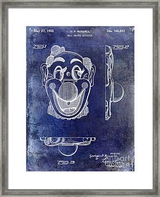 1952 Clown Light Switch Patent Blue Framed Print by Jon Neidert