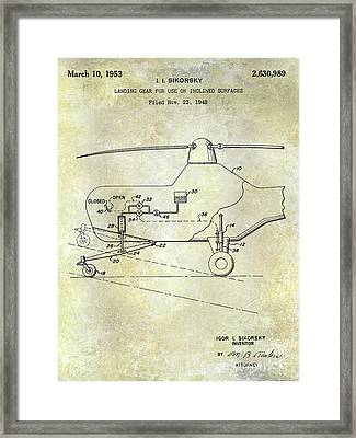 1953 Helicopter Patent Framed Print