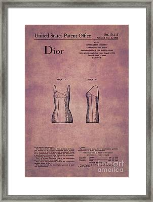 1955 Dior Combination Garment Design 1 Framed Print by Nishanth Gopinathan