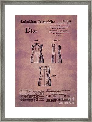 1955 Dior Combo Bra And Corset Design 1 Framed Print by Nishanth Gopinathan