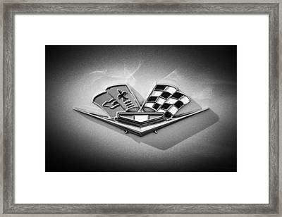 Framed Print featuring the photograph 1964 Chevrolet Corvette Sting Ray Gm Styling Coupe Side Emblem -0153c by Jill Reger