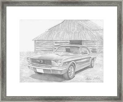 1966 Ford Mustang Classic Car Art Print Framed Print by Stephen Rooks