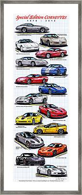 Framed Print featuring the drawing 1978 - 2011 Special Edition Corvettes by K Scott Teeters
