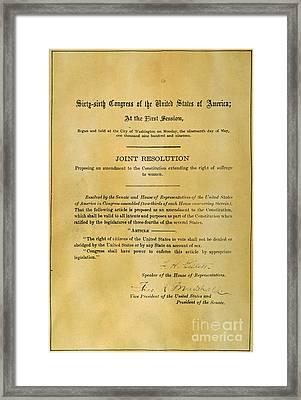 19th Amendment, 1919 Framed Print by Granger