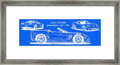 Framed Print featuring the drawing 2010 Corvette Grand Sport - Z06 - Zr1 Reverse Blueprint by K Scott Teeters