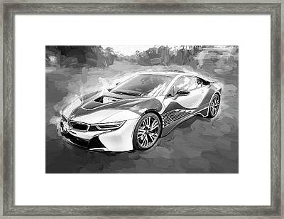 Framed Print featuring the photograph 2015 Bmw I8 Hybrid Sports Car Bw by Rich Franco