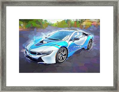 Framed Print featuring the photograph 2015 Bmw I8 Hybrid Sports Car by Rich Franco