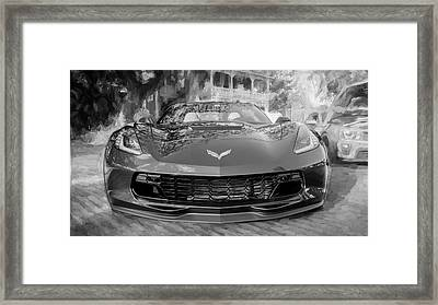 Framed Print featuring the photograph 2017 Chevrolet Corvette Gran Sport Bw by Rich Franco