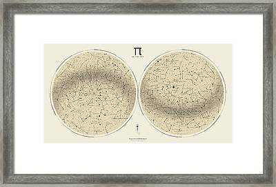 2017 Pi Day Star Chart Azimuthal Projection Framed Print by Martin Krzywinski