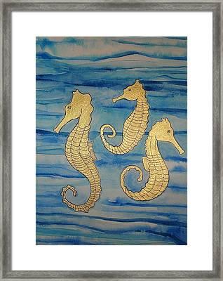 24 Karat Seahorses Framed Print