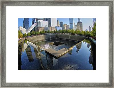 Framed Print featuring the photograph 9/11 Memorial by Mitch Cat