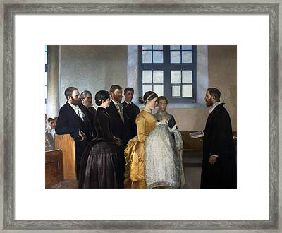 A Baptism Framed Print by Michael Ancher