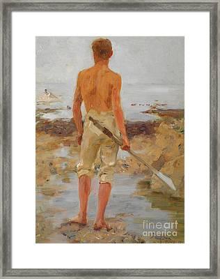 A Boy With An Oar  Framed Print
