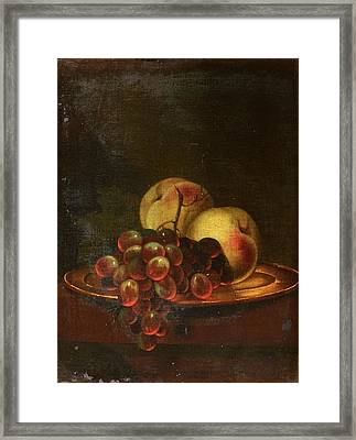 A Brass Platter Of Peaches And Bunch Of Grapes Framed Print