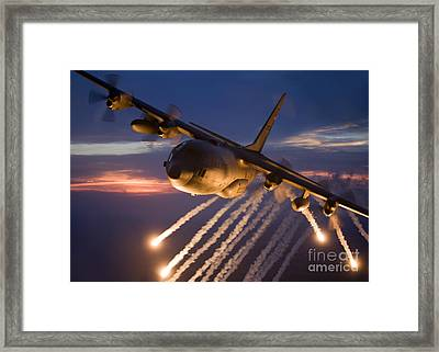 A C-130 Hercules Releases Flares Framed Print by HIGH-G Productions