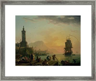 A Calm At A Mediterranean Port Framed Print by Claude-Joseph Vernet