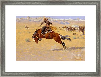 A Cold Morning On The Range Framed Print by Frederic Remington