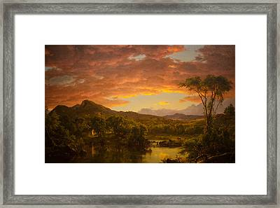 A Country Home Framed Print by Frederic Edwin Church