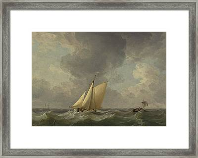 A Cutter In A Strong Breeze Framed Print by Charles Brooking