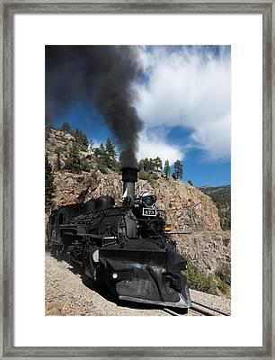 A Durango And Silverton Narrow Gauge Scenic Railroad Train Chugs Through The San Juan Mountains Framed Print by Carol M Highsmith