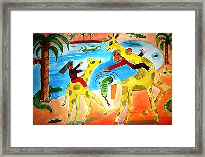 A Fine Day For Riding Giraffes Framed Print by Ward Smith