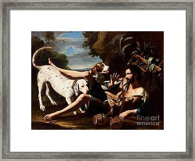 A Flask-bearer Surprised By Two Dogs In A Landscape Framed Print by MotionAge Designs