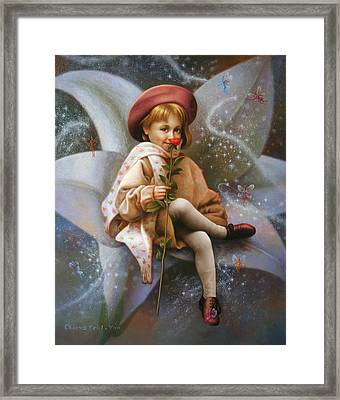 A Girl And A Fairy Of 7 Framed Print