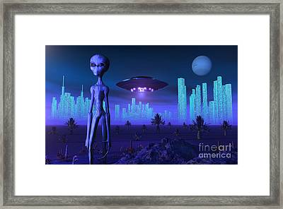 A Grey Alien Located On Its Homeworld Framed Print