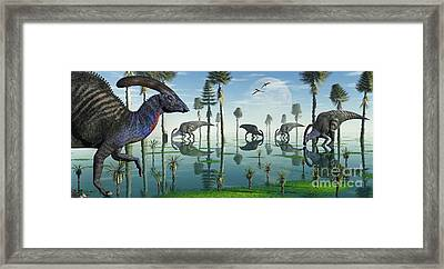 A Group Of Parasaurolophus Duckbill Framed Print