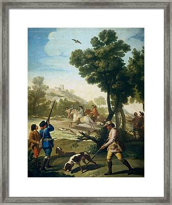 A Hunting Party Framed Print by Francisco Goya
