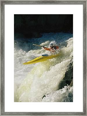 A Kayaker Speeds Down One Of The Falls Framed Print by Skip Brown