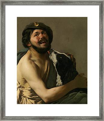 A Laughing Bravo With His Dog Framed Print by Hendrick ter Brugghen