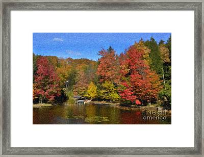 Framed Print featuring the painting A Little Piece Of Adirondack Heaven by Diane E Berry