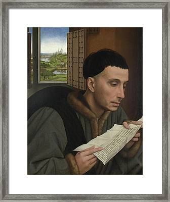 A Man Reading Framed Print by Rogier van der Weyden