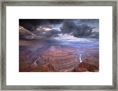 A Monsoon Storm In The Grand Canyon Framed Print