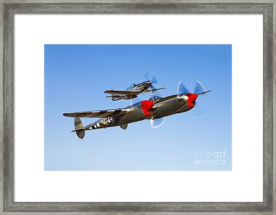 A P-38 Lightning And P-51d Mustang Framed Print