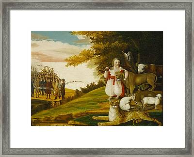 A Peaceable Kingdom With Quakers Bearing Banners Framed Print