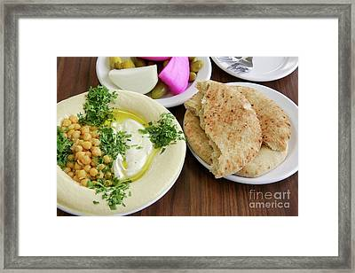 A Plate Of Ready To Eat Hummus Framed Print by PhotoStock-Israel