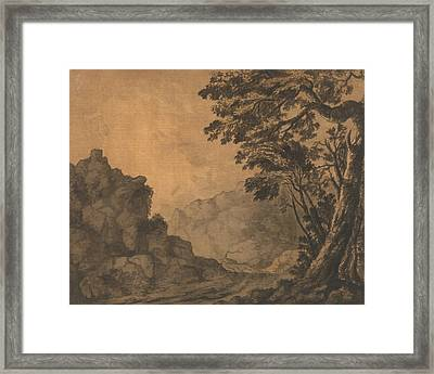 A Road In A Mountain Landscape With Trees To The Right Framed Print