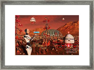 A Robot And Landing Craft Making Framed Print by Mark Stevenson
